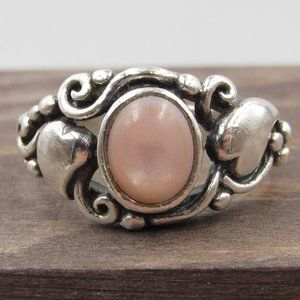 Jewelry - Size 6.75 Sterling Silver Pink Shell Hearts Ring